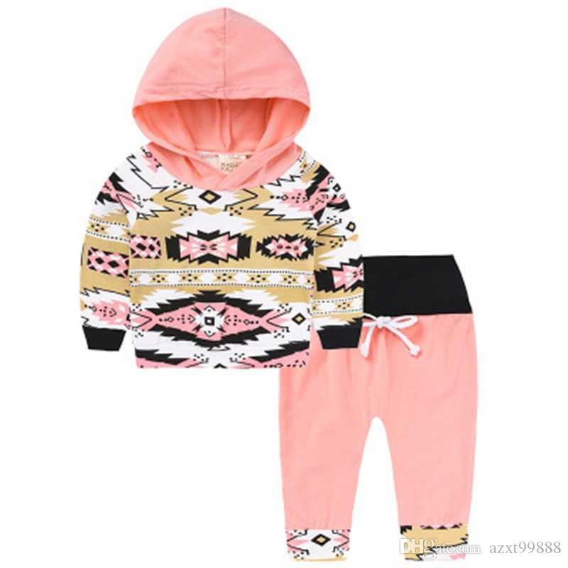 2018 Fashion Baby Clothes Suit With Hood Tops Long Legging Pants
