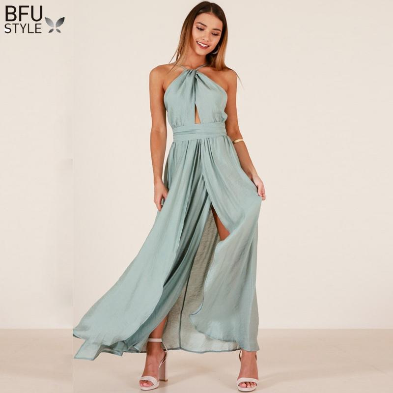 2019 Halter Off Shoulder Split Maxi Dress Sexy Women Summer Boho Beach Party  Long Dress Backless Hollow Out Lace Up Elegant Vestidos From Lbdapparel 5ed266cafd31