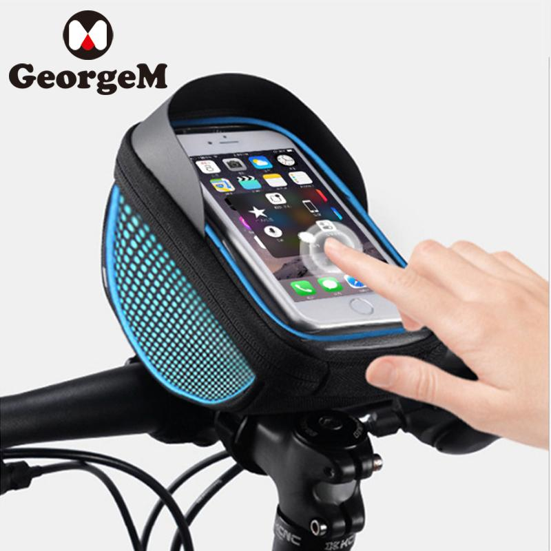 6edcf498e48 Waterproof 6inch Touch Screen Phone Bags Mountain Bike Bag Front Frame Bag  Cycling Phone Case Mobile Navigation Car Holder Front Bicycle Basket  Waterproof ...