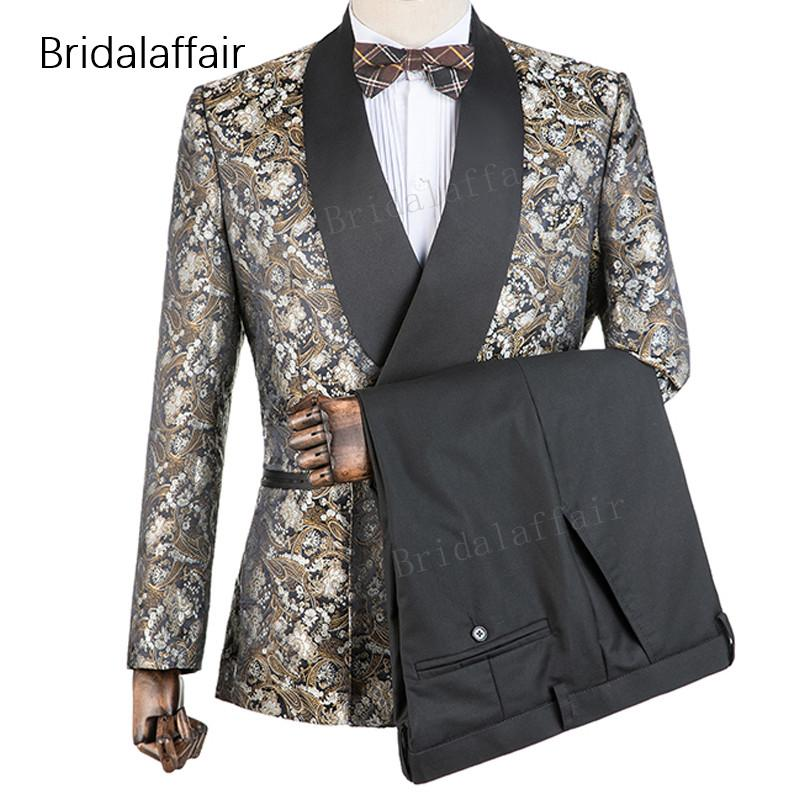 Suits & Blazers Men's Clothing Free Shipping Tang 2019 Slim Fit Mens Floral Print Blazer Jacket British Style Prom Party Wedding Blazers Gold Blazer For Men