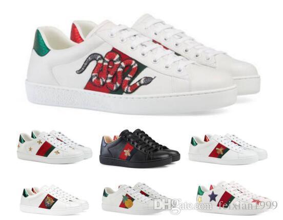 05e28f97f17 ... Chaussures Sneakers Blanc Faible Véritable En Cuir Véritable Python  Tigre Abeille Fleur Brodé Chine Chaussures De  112.52 Du Feixian1999