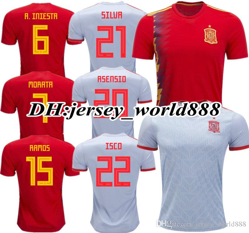 f621fe4a106 2019 TOP QUALITY 2018 World Cup Spain Red MORATA ASENSIO Home Soccer Jersey  18 19 FABREGAS ISCO A.INIESTA SILVA RAMOS Espana Away Football Shirts From  ...