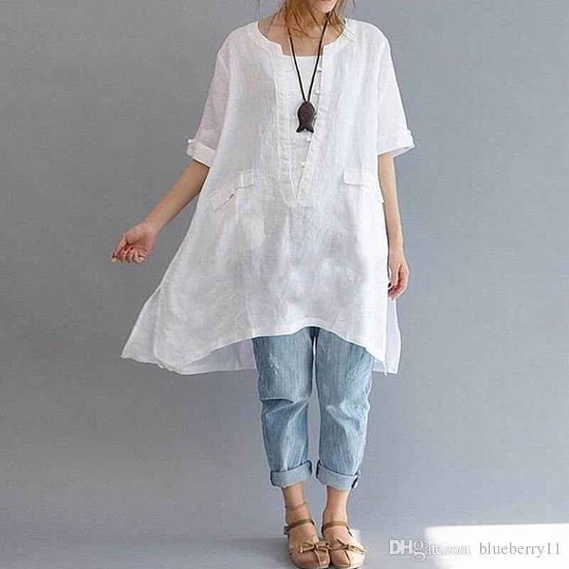 f29b10b7a22 2019 Summer Women Cotton Linen Shirts Black White O Neck Short Sleeve Party  Tops Solid Blouse Irregular Shirt Plus Size S 5XL From Blueberry11