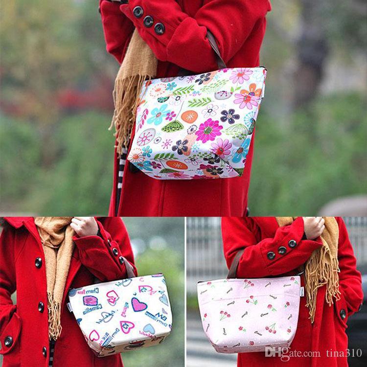꽃 옥스포드 픽크닉 열 부대 내오프렌 점심 부대 음식 냉각기는 열 여자 핸드백 여자 메신저 부대 T2I002 를 자루에 넣습니다