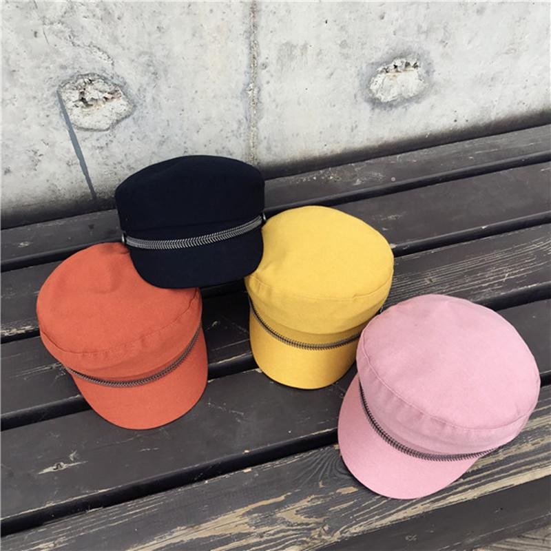 Candy Colors Navy Hat Fall Winter Newsboy Cap Women Eight-panel Hat Cotton Baker Boy Caps Retro Women Hats