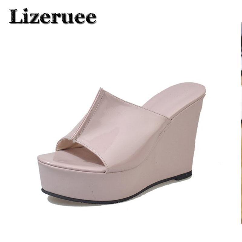 a60d255734e5 Summer Wedge Slippers Platform High Heels Women Slipper Ladies Outside  Shoes Basic Clog Wedge Slipper Flip Flop Sandals HS146 Sheepskin Slippers  Slippers ...