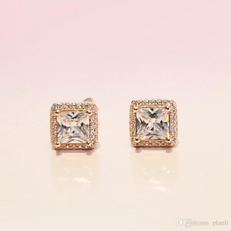 925 Sterling Argent Carré Grand CZ Diamant Boucle D'oreille Fit Pandora Bijoux Or Rose Plaqué Or Stud Boucle D'oreille Femmes Boucles