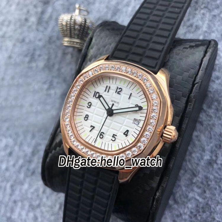 Brand New Aquanaut 35.2mm 5068R-010 5067A-011 5067 White Dial Swiss Quartz Womens Watch Rose Gold Case Diamond Bezel Fashion Lady Watches