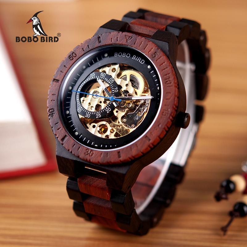 6057c43586c Compre BOBO PÁSSARO Relógio De Madeira Mecânica Homens Relogio Masculino  Grande Mens Relógios Top Marca De Luxo Relógios Erkek Kol Saati W R05 De  Pickled