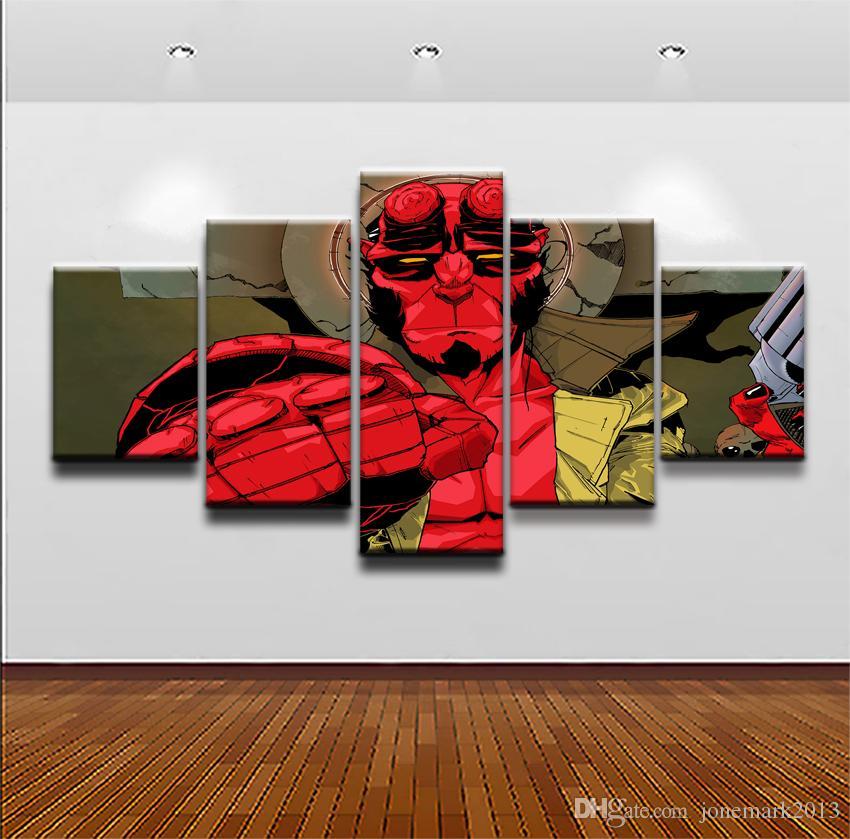 Modern Canvas HD Prints Poster Wall Art Pictures Quadro 5 pezzi Fumetti personaggi Hellboy Dipinti Ragazzi Room Home Decor