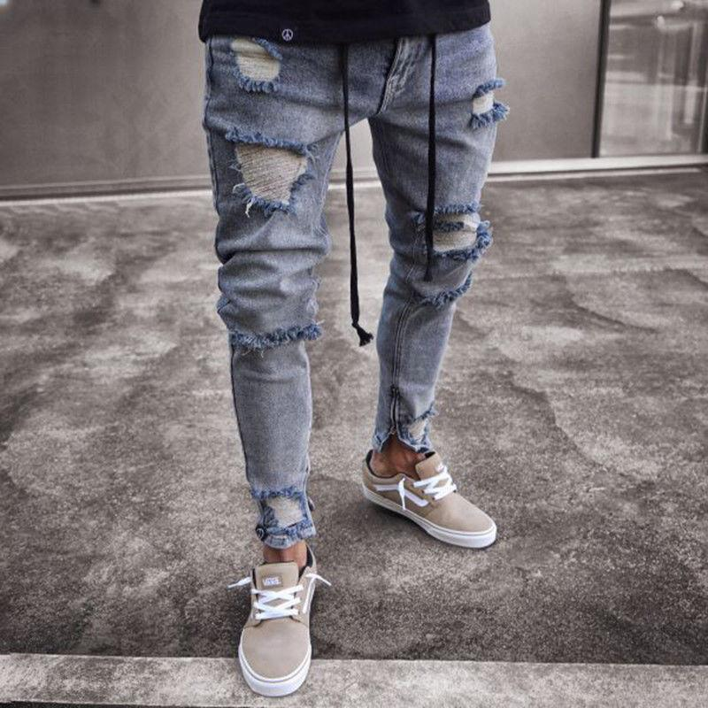 89c9496a0f05 Fashion Men's Ripped Skinny Biker Hole Zipper Jeans 2018 New Destroyed  Frayed Slim Fit Denim Long Pants