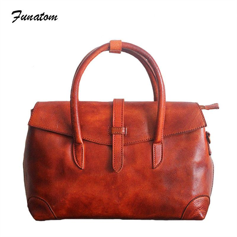 dc4f2b5a09 Vintage Women S Messenger Bags Hand Rubbing Briefcase Woman Genuine Leather  Bags For Women 2018 Ladies Crossbody Travel Purse Branded Handbags From  Yunduoa