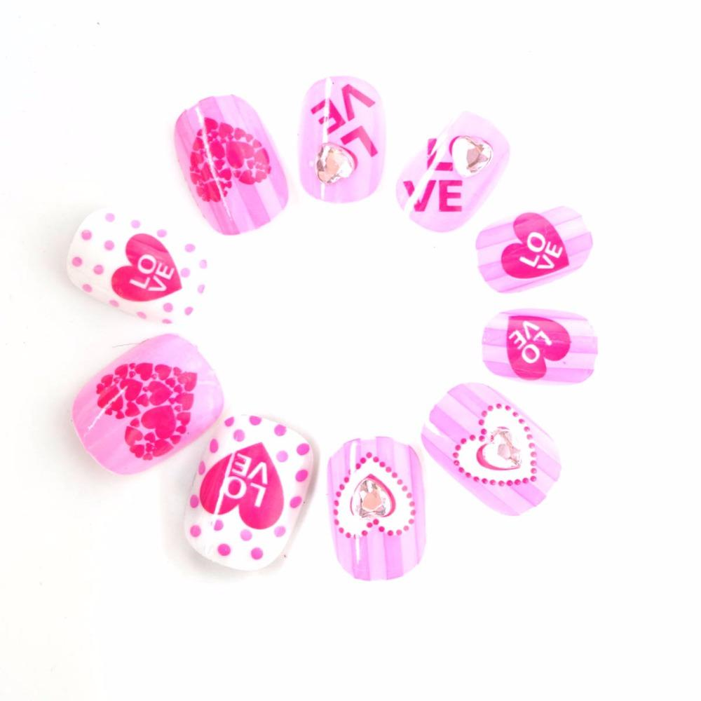 Hot Spots And Hearts Children Fake Nails Pink Rhinestones Decoration ...
