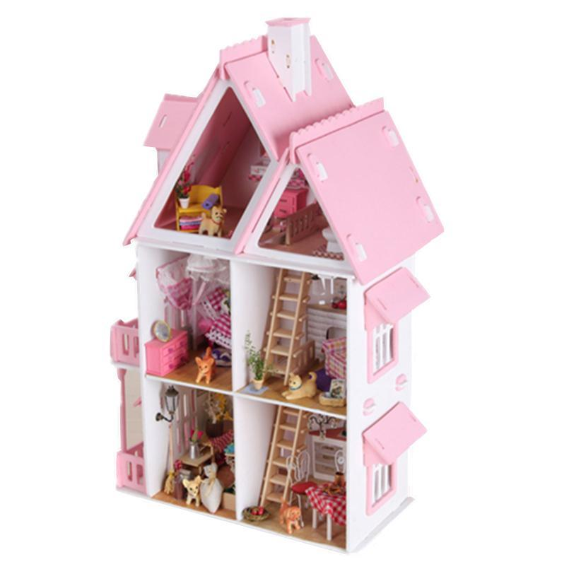 Diy Kit Dollhouse Toy Miniature Scale Model Puzzle Wooden Doll House