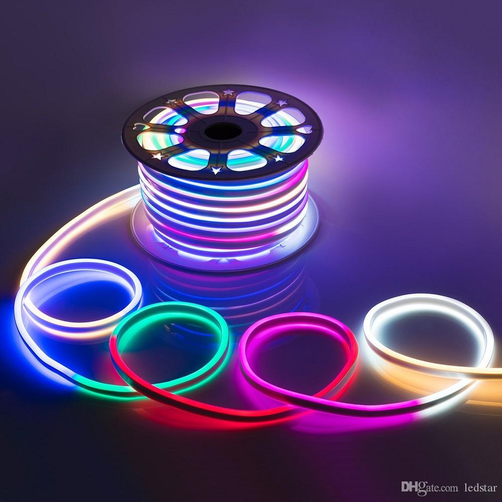 Ac 110 240v flexible rgb led neon light strip ip65 multi color ac 110 240v flexible rgb led neon light strip ip65 multi color changing 120ledsm led rope light outdoor remote controller power plug led light strips aloadofball Image collections