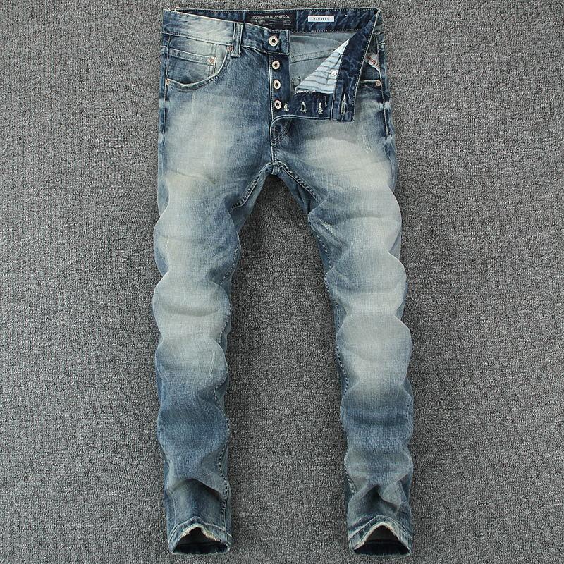 Großhandel Italienische Mode Männer Jeans Blaue Farbe Slim Fit Baumwolle  Klassische Jeans Casual Hosen Marke Designer Tasten Männer Von Vanilla01,  ... a6b2a47214