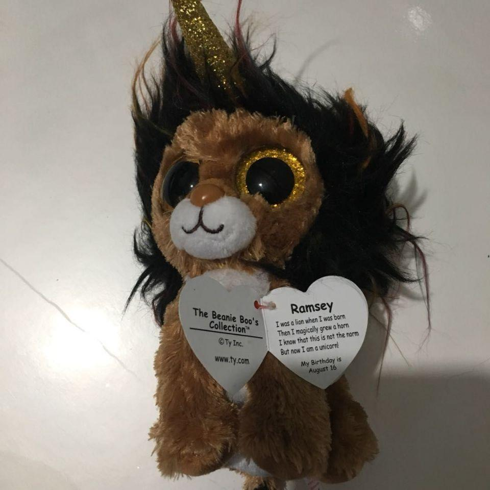 15cm Ramsey Lion With Horn With Tag And Label TY BEANIE BOOS 15CM 6 BIG EYE  Plush Toys Stuffed Animals KIDS TOYS Children Toy UK 2019 From Cornemiu 8252d7e7e8d