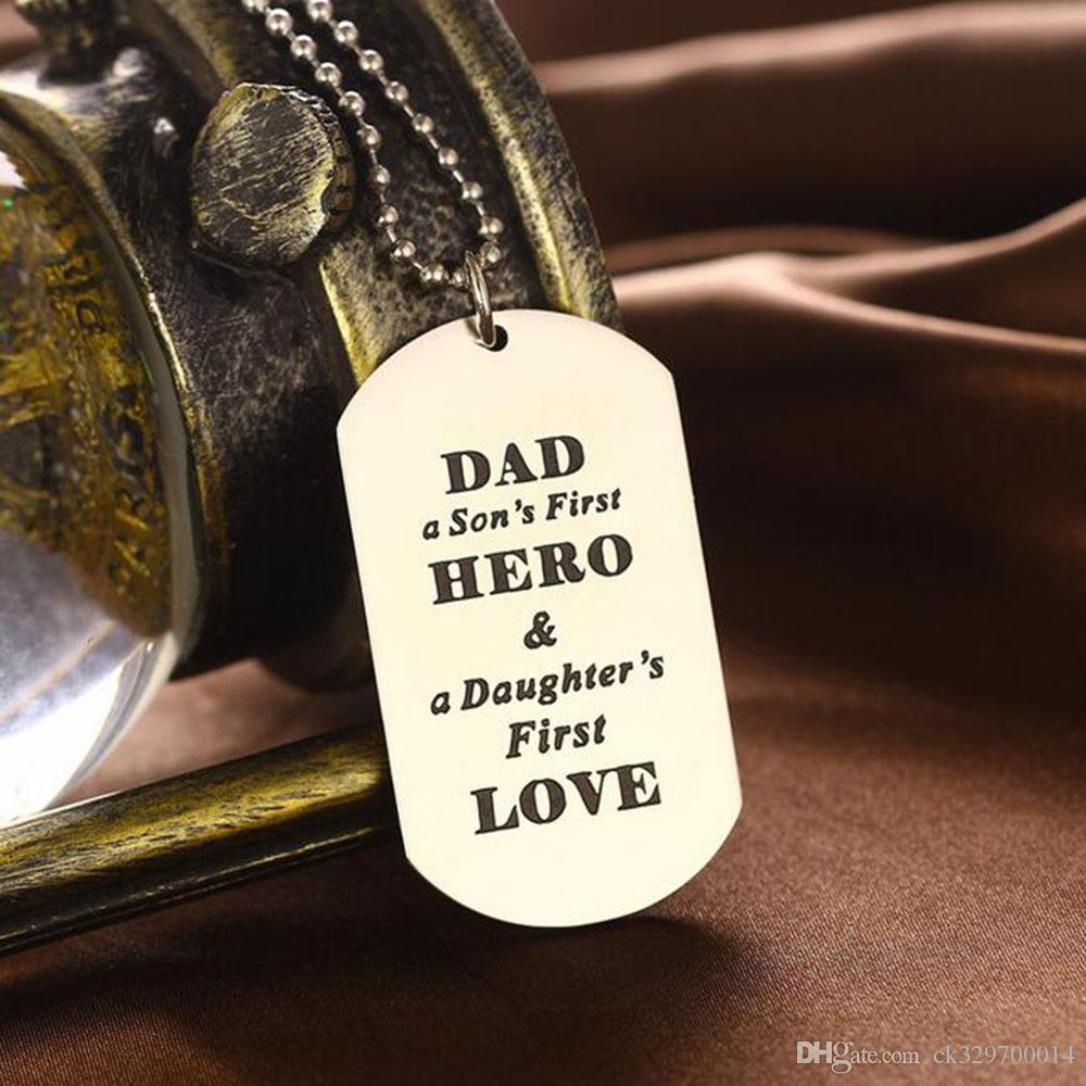 wholesale Family Father Necklaces Dad A Son's First Hero A Daughter's First Love Pendant Necklace Jewelry Fathers Day Gift