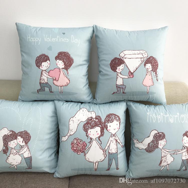 New Multicolor 5 Designs Pillowcase Hot Cotton Soft Flannel Couples Pillow Case Sofa Cushion Cover Car Lumbar Pillow Cover