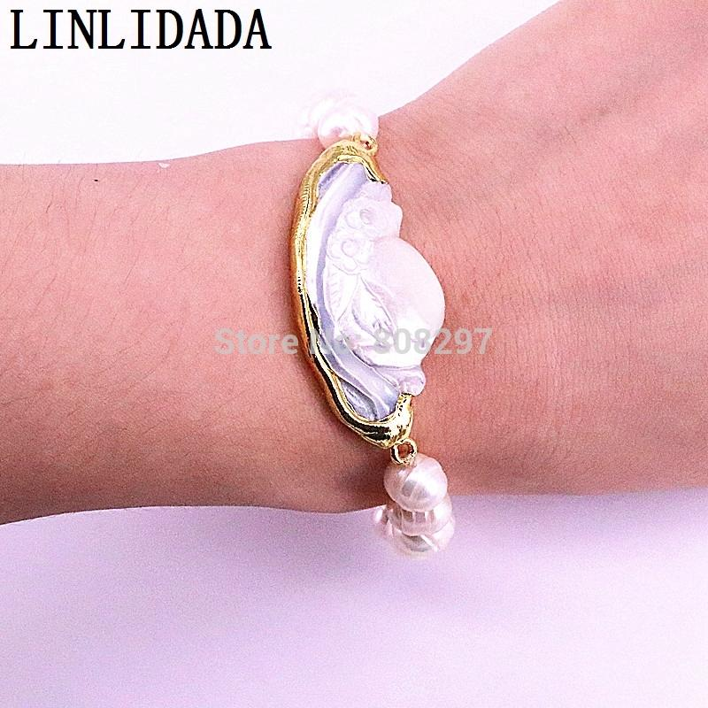 Elegant Gold Color Natural White Shell Connector With Pearl Beads Stretch  Bracelet Fashion Woman Jewelry Childrens Charm Bracelets Charms Bracelets  From ... 41391387a43d