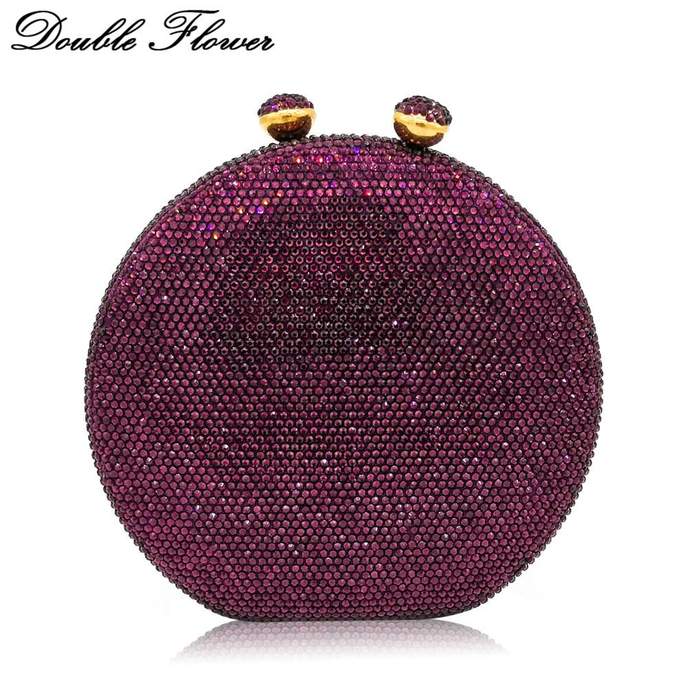 Double Flower Kiss Clasp Round Circular Women Purple Crystal Clutch Evening Handbags Hard Case Wedding Cocktail Diamond Bag