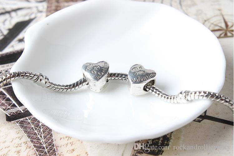Promozione nuovo arrivo cuore san valentino fascino pandora bracciale catena del serpente o collana gioielli di moda branello allentato