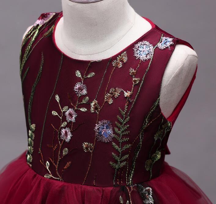 Bordado de los niños vestidos de boda 4-15 años de flor de las muchachas vestido de fiesta formal vestido de fiesta negro azul rosa cinco colores
