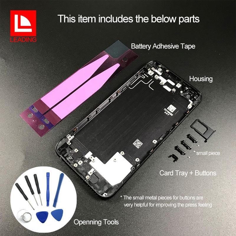 Couverture de logement arrière pour iPhone 6 6P 6S 6SP 7 7P Plus, comme le remplacement de la coque arrière en verre de style métallique pour iPhone 8 avec boutons
