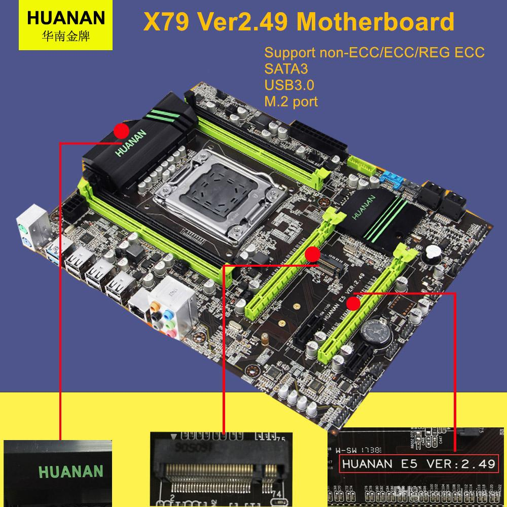 HUANAN V2.49 X79 Motherboard With PCI-E NVME SSD M.2 Port CPU Xeon E5 2660 C2 RAM 16G DDR3 RECC Support 4*16G Memory