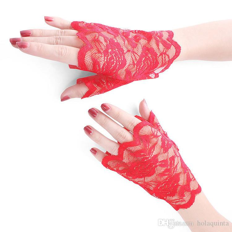 womens sunscreen short gloves fashion sexy fingerless lace driving gloves Spring and Summer Lace glove