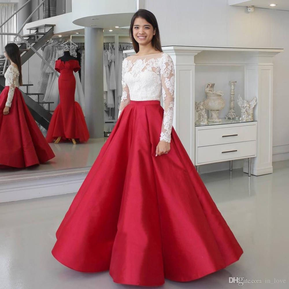 f189077bec White And Red Prom Dress Long Sleeve Boat Neck Appliques Lace Satin A Line  Floor Length Party Gowns Custom Size Sexy Long Prom Dresses Short Plus Size  Prom ...