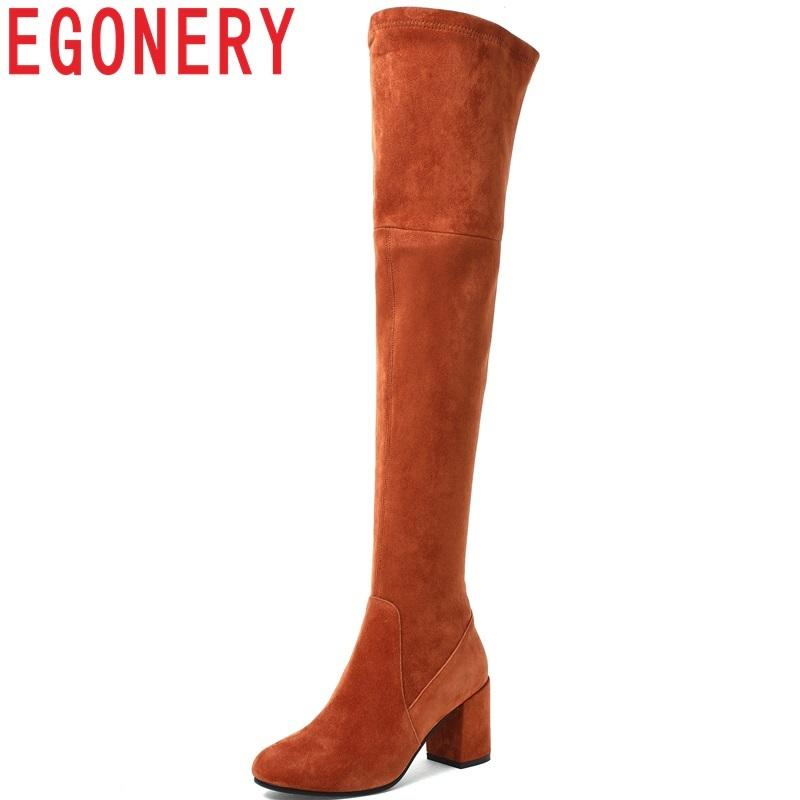 71afdf0c88a EGONERY Newest Hot Sale Over The Knee Boots Round Toe High Square Heel Kid  Suede Solid Winter Outside Fashion Party Women Shoes Ankle Boots Cowboy  Boots ...