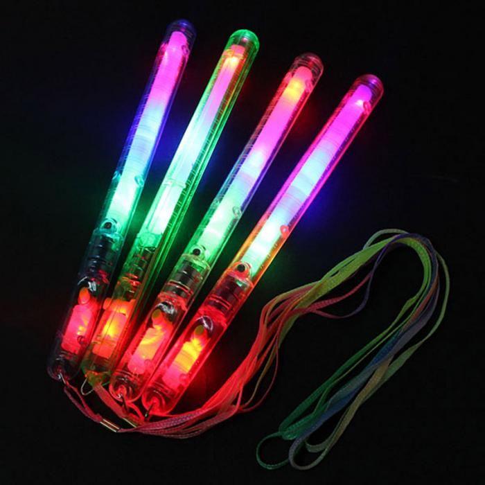 Çok Renkli 7 Modu Yanıp Sönen LED Gece Işık Lambası LED Glow sopa ile kayış Parti festivali Kampı