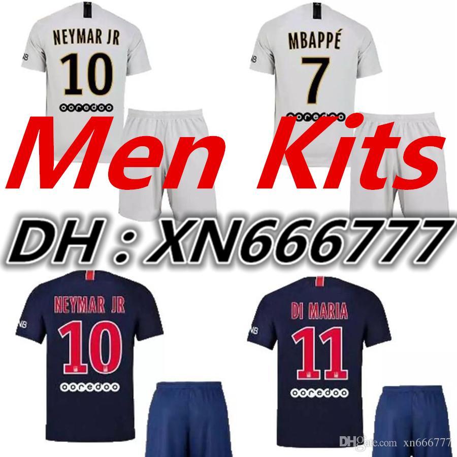 936671066 2019 2019 Maillot De Foot PSG Adult Kits Away Soccer Jersey 7  MBAPPE  NEYMAR JR Cavani Jerseys 18 19 Football Men Kit Shirt Set From Xn666777