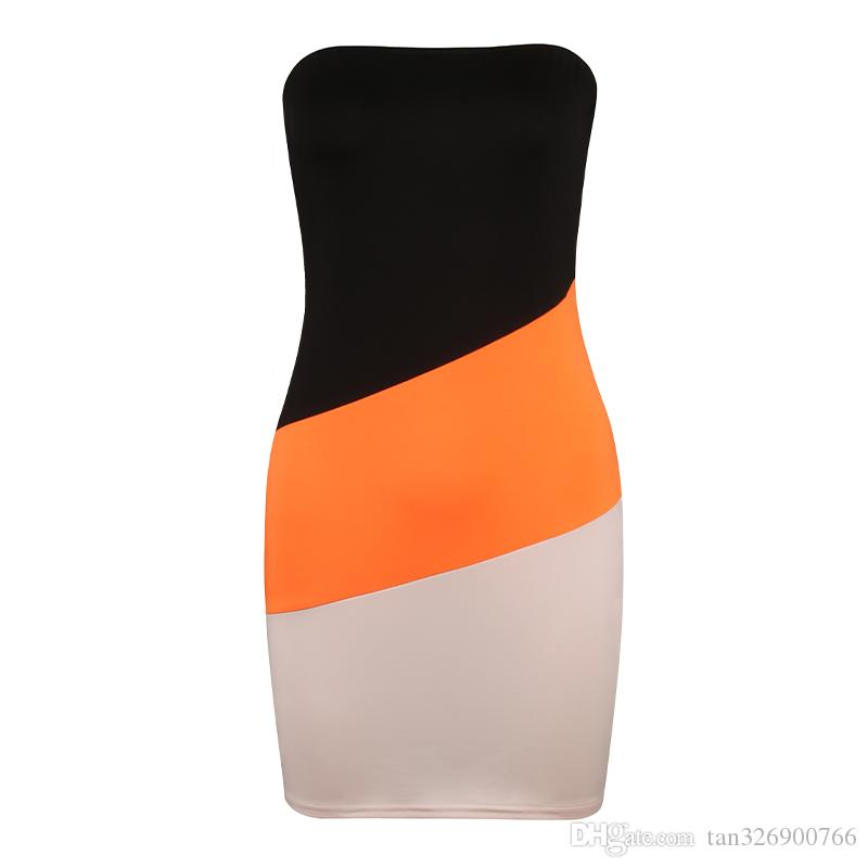 Omuz İnce Elbise Stretch Sıkı Party Club Giysi BODYCON Elastik Tüp Mini Kapalı Kadın Seksi Dikişsiz Straplez Elbise