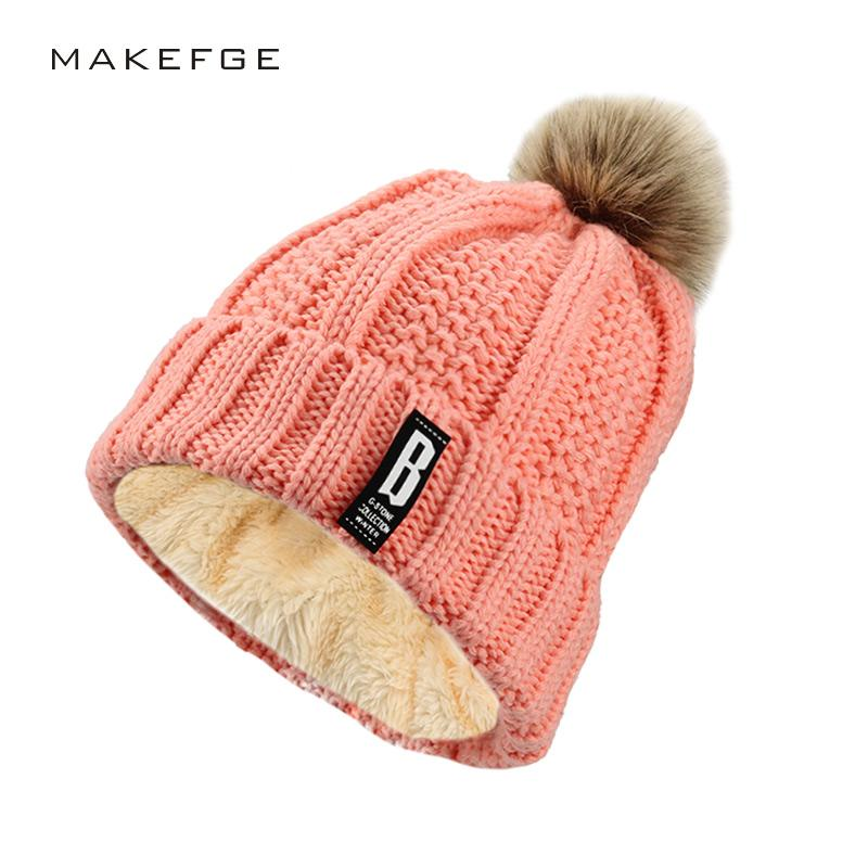 53f76a3e400 Fashion Girl 'S Double Layer Warm Caps Pompoms Ball Winter Hats For ...
