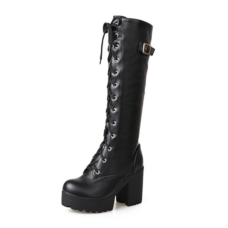 9dba6fcb6 Compre 2018 Estilo De Rua Legal Sapatos De Salto Alto Na Altura Do Joelho  Alta Botas Mulher Plataforma Inverno Mulheres Sapatos Bota De Neve Feminino  H 273 ...