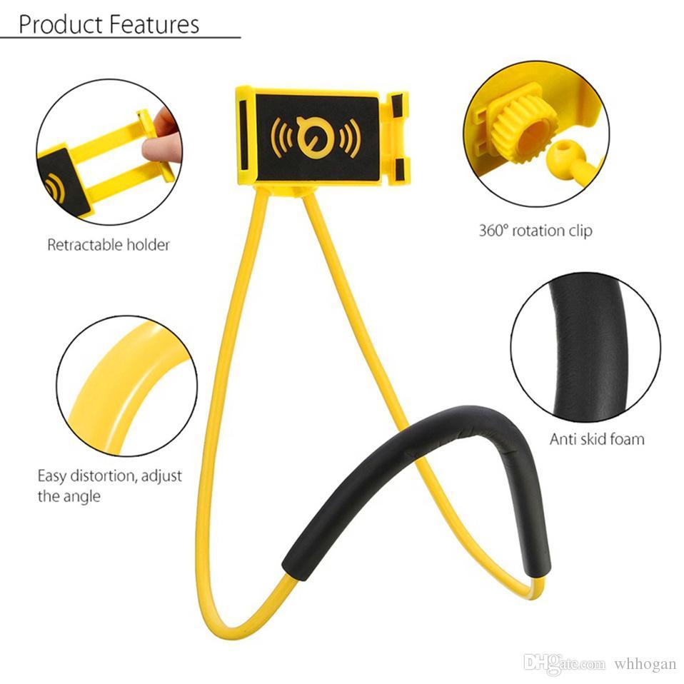 Preguiçoso Pendurado Pescoço Phone Stands Colar Celular Suporte Suporte Com Microfone Fone De Ouvido Para Samsung S9 Titular Universal Para Iphone