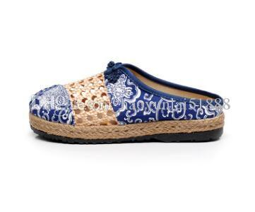 The new flax slippers old Beijing national wind net shoes cloth shoes baotou thick sole and the outside wear manual anti-skid.