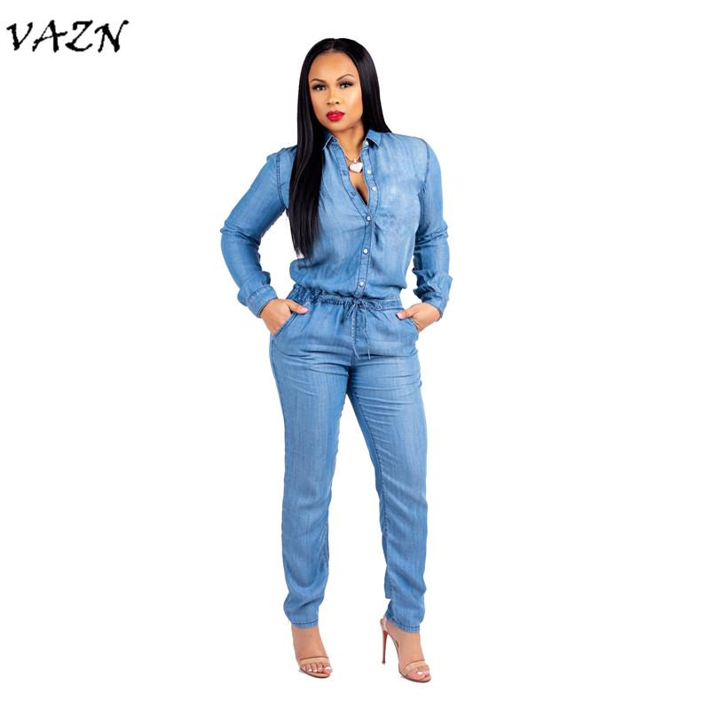 5dfe82d84c73 VAZN 2018 New Arrive Casual Button Jumpsuits Women Full Sleeve Waist ...