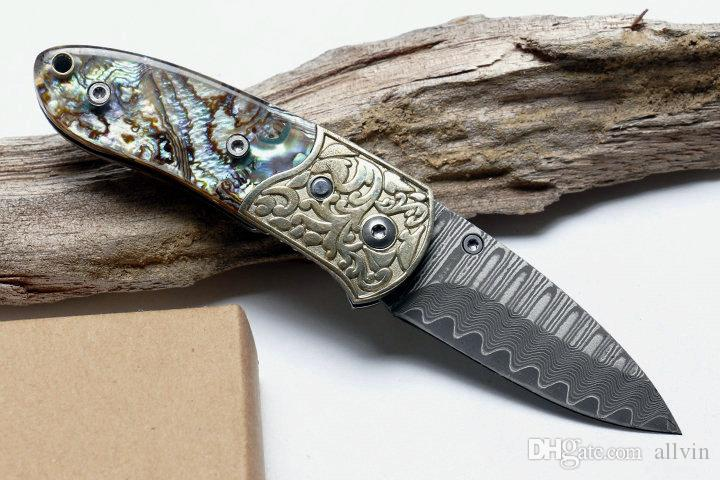 DHL Fast Shipping Small Folding Knife Damascus Steel Blade Shell + Copper Handle EDC Pocket Knives Liner Lock With Nylon Bag