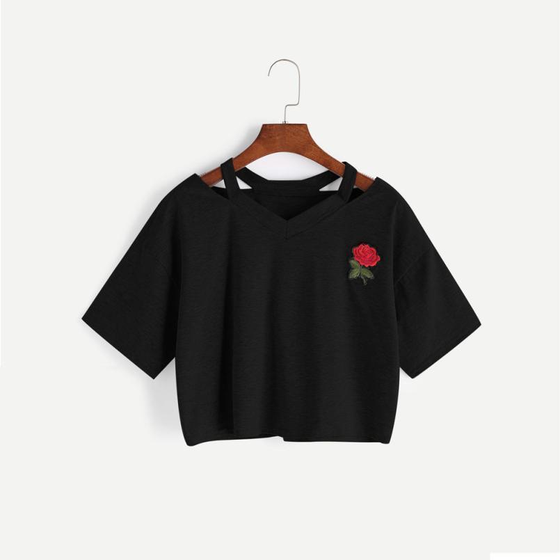 77bb160c05 Compre Camisetas Divertidas De Mujer Rosa Manga Corta De Algodón Mujer  Casual Camiseta Con Cuello En V Tops Una Dirección Blusas Poleras De Mujer  Moda 2019 ...