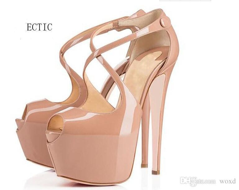 175773de Compre 2017 Zapatos De Verano Plataforma De Las Mujeres Tacones Altos 16 Cm Negro  Plataforma Nude Stiletto Zapatos De La Boda De Gran Tamaño Bombas De Punta  ...