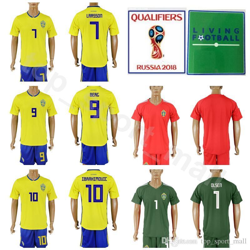 2018 2018 World Cup Sweden 10 Zlatan Ibrahimovic Jersey Men Soccer Set 9  Marcus Berg 7 Sebastian Larsson Football Shirt Kits With Short Pant From ... 84405d495
