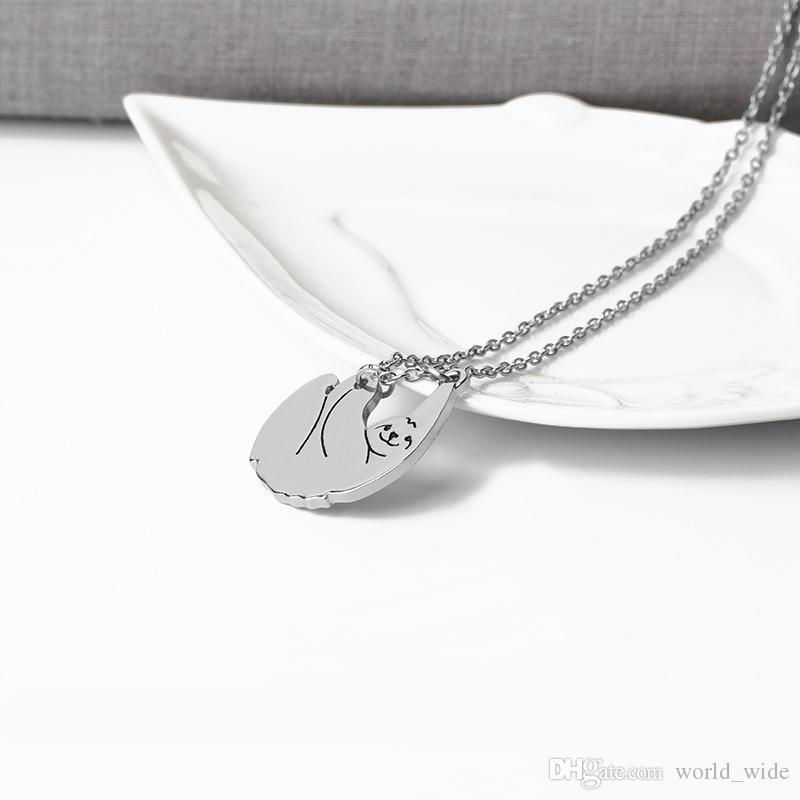 Drop доставка Ленивец Чокеры Ожерелье для женщин мужчины Чокеры цепи кулон Макси Коли Ленивец заявление ювелирные изделия