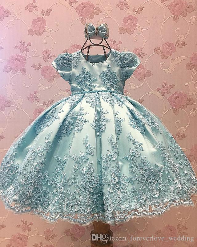 Blue Lace Flower Girls Dresses A-Line Jewel Neck Shor Sleeves Bow Satin Girl's Pageant Dresses Kids Prom Party First Communion Gown