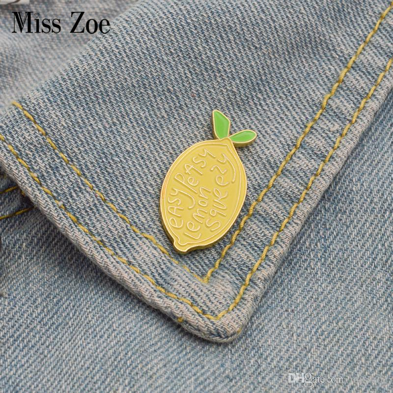 a0943a9d 2019 Lemon Enamel Pin Easy Peasy Brooches Gift For Kids Friends Fruit Icons  Pin Badge Button Lapel Pin For Denim Clothes Cap Bag From Misszoe, ...