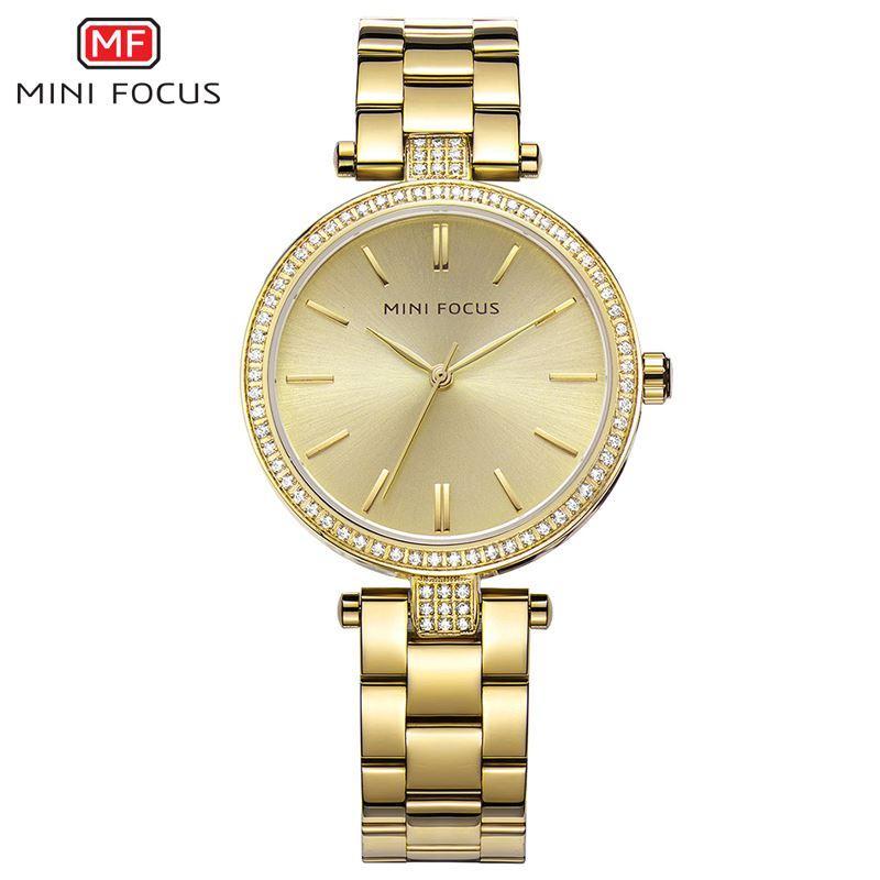 d2ae21e68ad Compre MINI FOCO Marca De Luxo Relógio De Ouro Das Mulheres De Aço  Inoxidável Relógio De Pulso Vestido Casual Senhoras Relógio De Quartzo  Mulheres Relógios ...