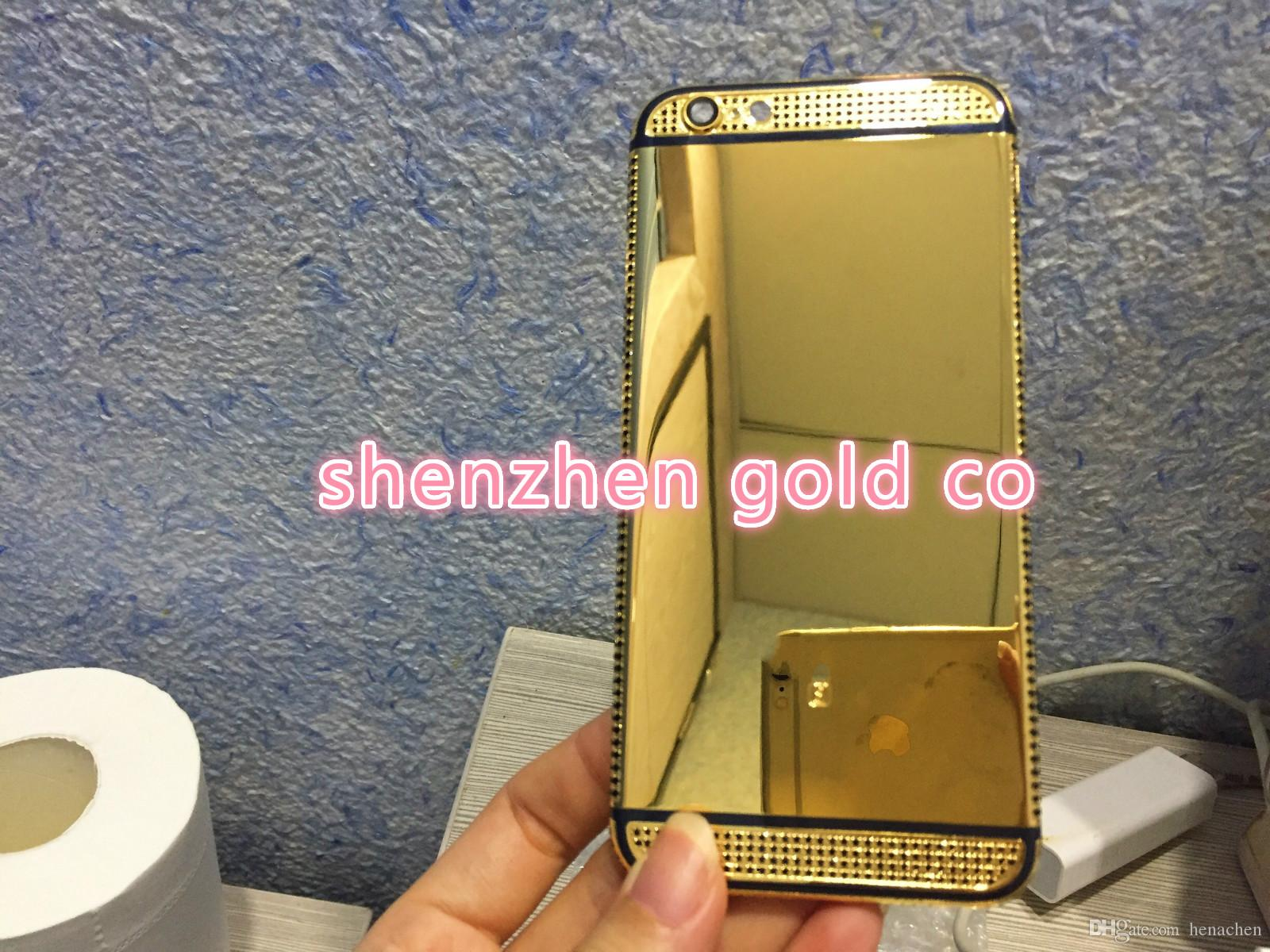 2018 real 24K gold partial DIAMOND crystal Plating Battery Back Housing Cover Skin for iPhone 6 24kt Limited golden crystal with black