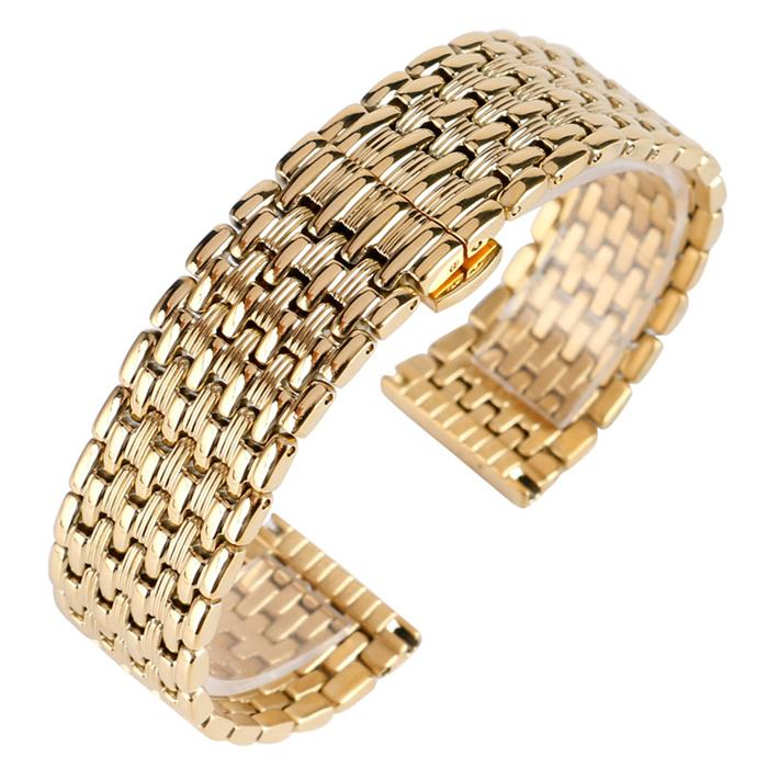 f1505be9ecc Yellow Gold Bracelet 18 20 22mm Stainless Steel Watch Strap Men Women  Adjustable Wristwatch Band New Mesh Watch Band Armitron Watch Bands From  Timepro